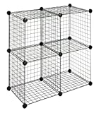 Whitmor Storage Cubes - Stackable Interlocking Wire Shelves -Black (Set of 4)