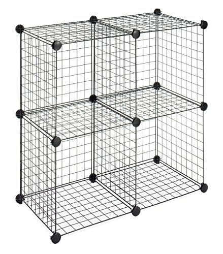 (Whitmor Storage Cubes - Stackable Interlocking Wire Shelves -Black (Set of 4))