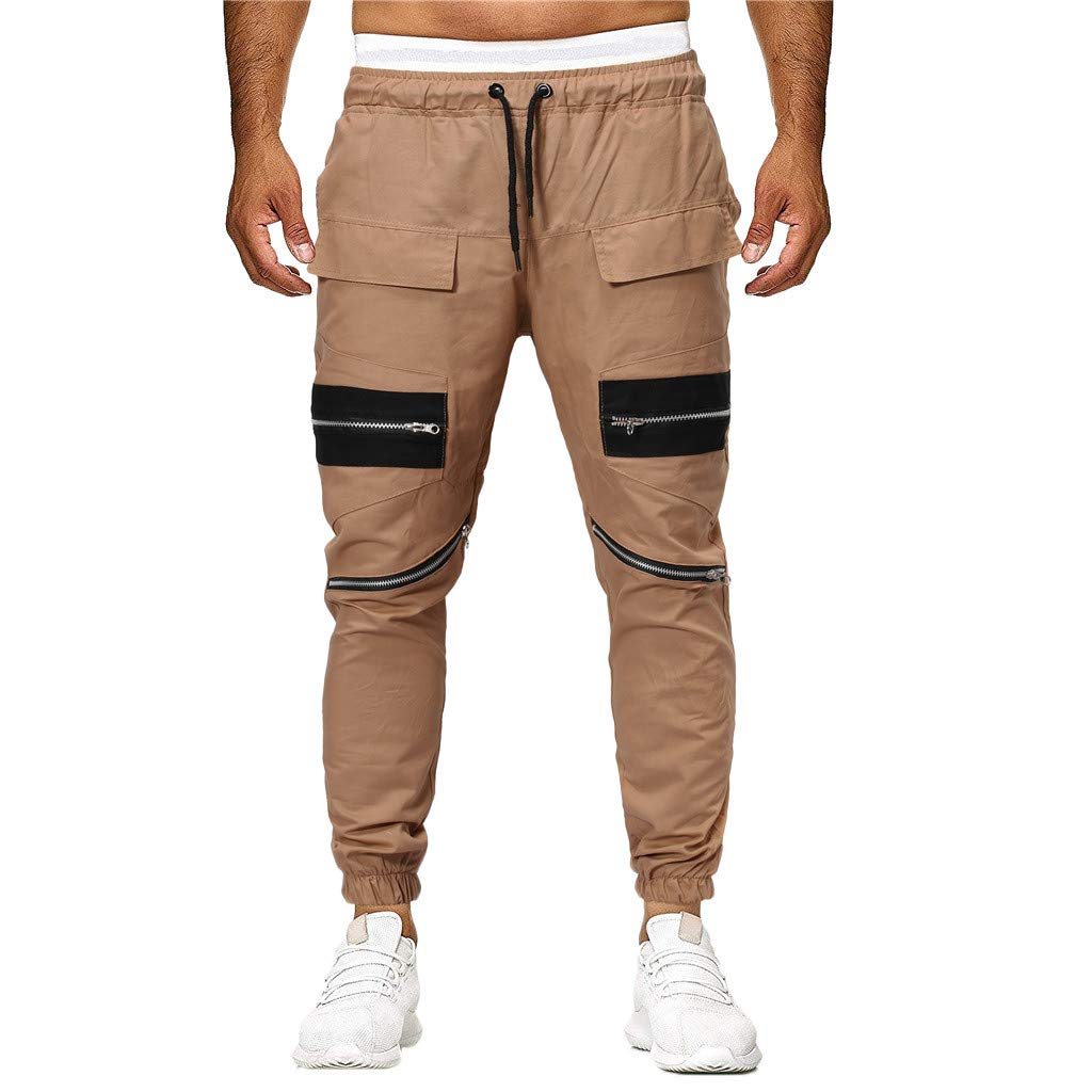 Sunyastor Men's Jogger Sweatpants Sport Zipper Lashing Patchwork Loose Jogger Casual Baggy Hiphop Drawstring Pants Khaki