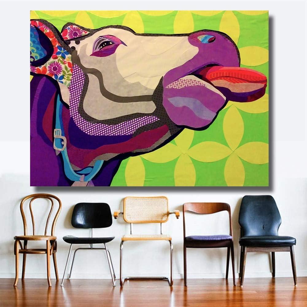 KWzEQ Mural Cabeza de Toro Animal Lienzo impresión Pintura al óleo Mural Imagen Dormitorio Loft Industrial habitación,Pintura sin Marco,60x80cm