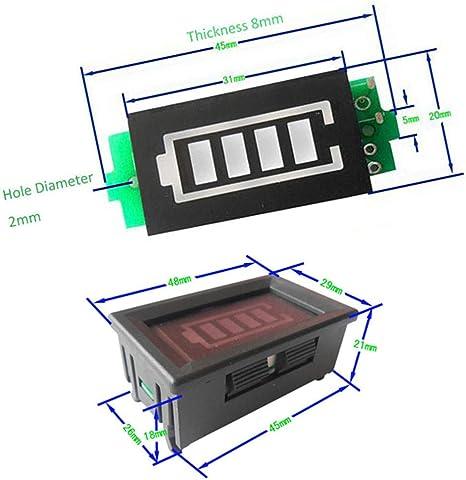 Baodanjiayou 4S 4/S/érie 16,8/V Niveau de Puissance Module Indicateur de capacit/é de Batterie Lithium /écran Bleu Without Case Version Noir