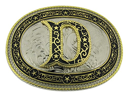 Initial Belt Buckle D US American Alphabet Vintage Finished Oval Unisex Metal New (Belt Greek Buckle)