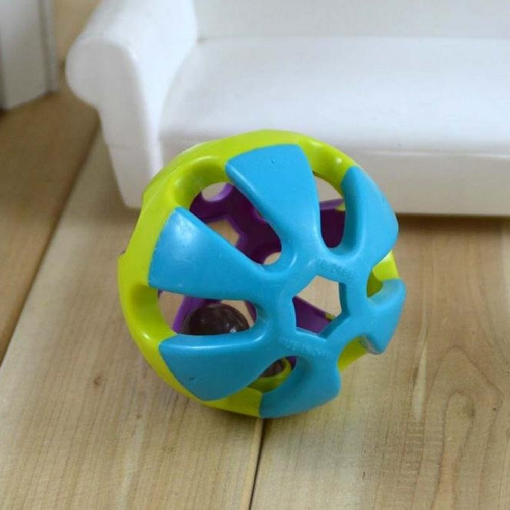 mnoMINI 1Pc Pet Ball Toy Colorful Hollow Bell-ringing Ball Toy for Dogs Puppy Cat Nontoxic Bite Resistant Chew Toy Teething Training Pet Exercise Game Funny Toy 7.5cm