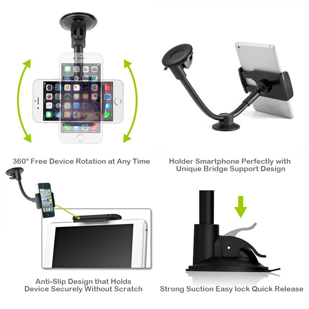 Car Phone Mount, Newward 2 Clamps Long Arm Universal Windshield Dashboard Cell Phone Holder for iPhone X 8 7 Plus 6 6s Plus 5s, Samsung Galaxy S9 S8 S7 S6 S5 Note,Google,LG and other Smartphones by Newward (Image #4)