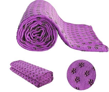MaxYoga Toalla para Hacer Yoga - Yoga Mat Towel - Antideslizante con Puntos de Gomas de Agarre. 61 cm x 183 cm.