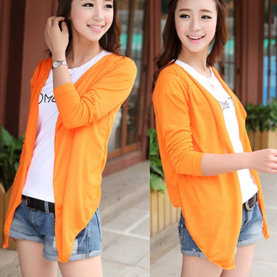 Goodfans Women Casual Long Sleeve Ultra-Light Sun Protection Air Conditioner Cardigan Cover-Ups