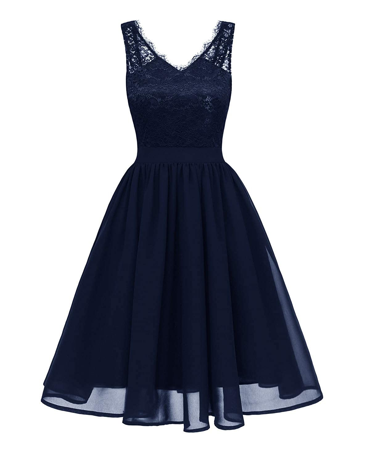 Navy bluee Zooka Womens Summer Lace Dress Vintage V Neck Slim Sexy Pin Up Party Black Lace