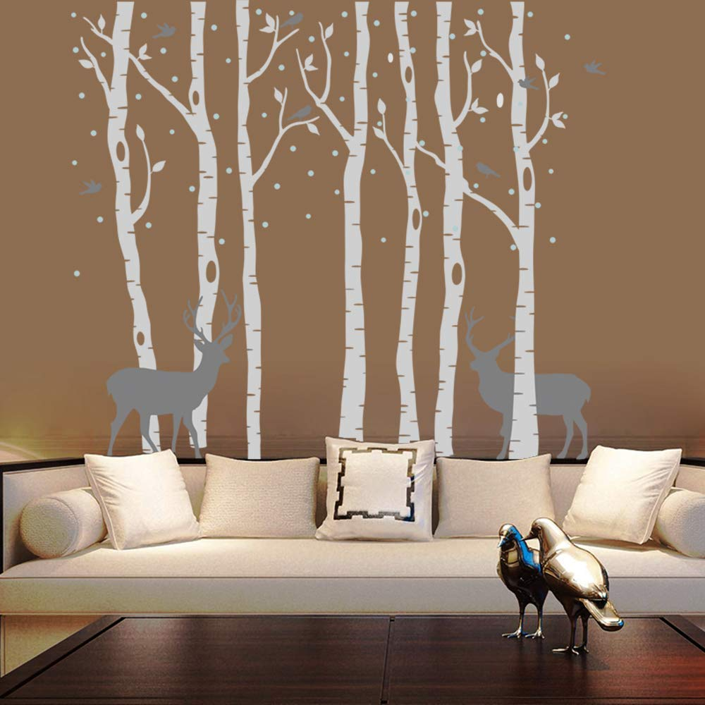 AIYANG Birch Tree Wall Stickers Deer Wall Decor Birds Stickers Nursery Wall Arts Bedroom Living Room Decoration (7Sets-Grey) by AIYANG