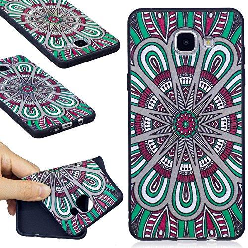 Carcasa Samsung Galaxy A5 2016, Funda Samsung Galaxy A5 2016 Silicona Negra, EUWLY Alta Calidad Suave Funda Caso Ultra Delgado Ligero Negro Silicona TPU Flexible Gel Protectora Parachoques Cubierta Ca Mandala