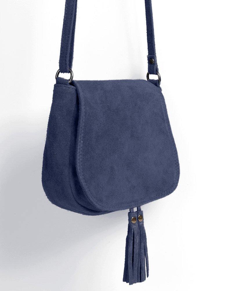 21f1bdb503f5 Ledertasche dunkel blau klein Lederhandtasche Umhängetasche Fransen echt  Leder Tasche Wildleder Handtasche Vintage Damen 5-bue  Amazon.de  Koffer,  ...