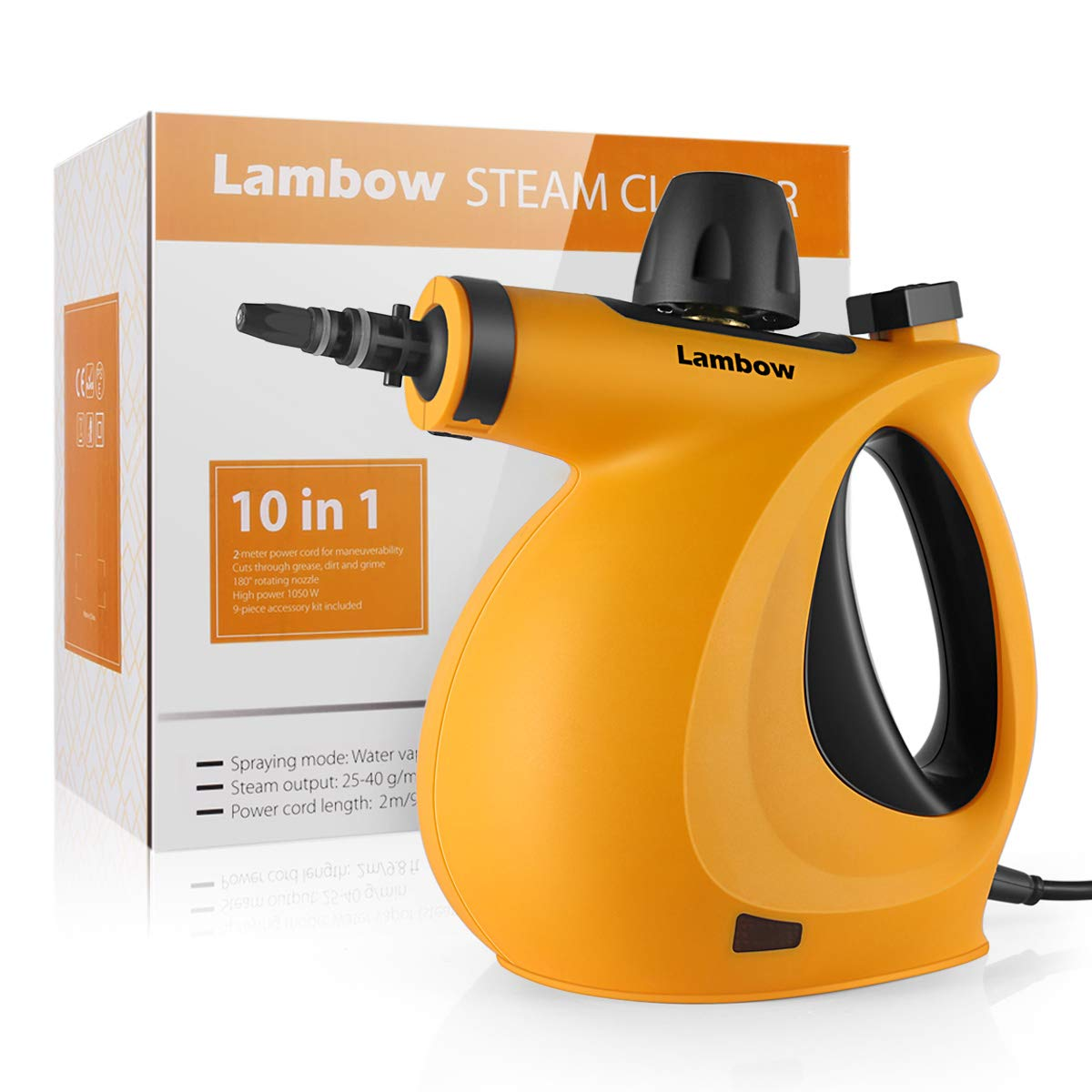 Lambow Handheld Pressurized Cleaner 9-Piece Accessory Set Purpose Multi-Surface All Natural, Chemical-Free Steam Cleaning Home, Auto, Patio (Orange)