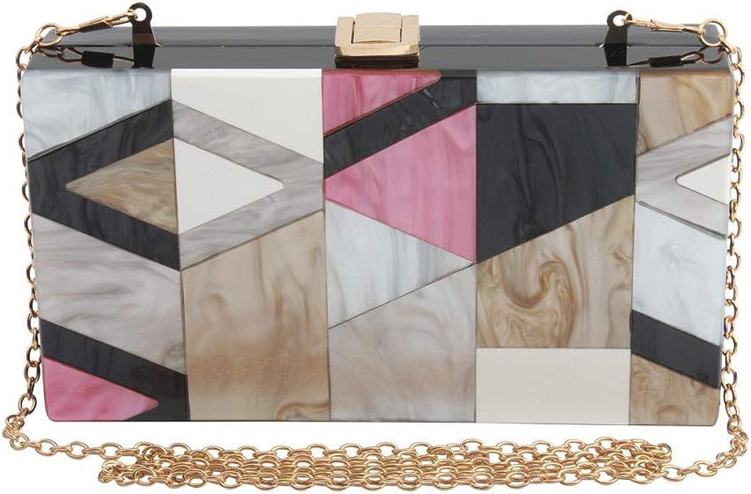 EROUGE Women Start Acrylic Bag Clutch With Chain Strap Elegant Glitter Cross Body Bags