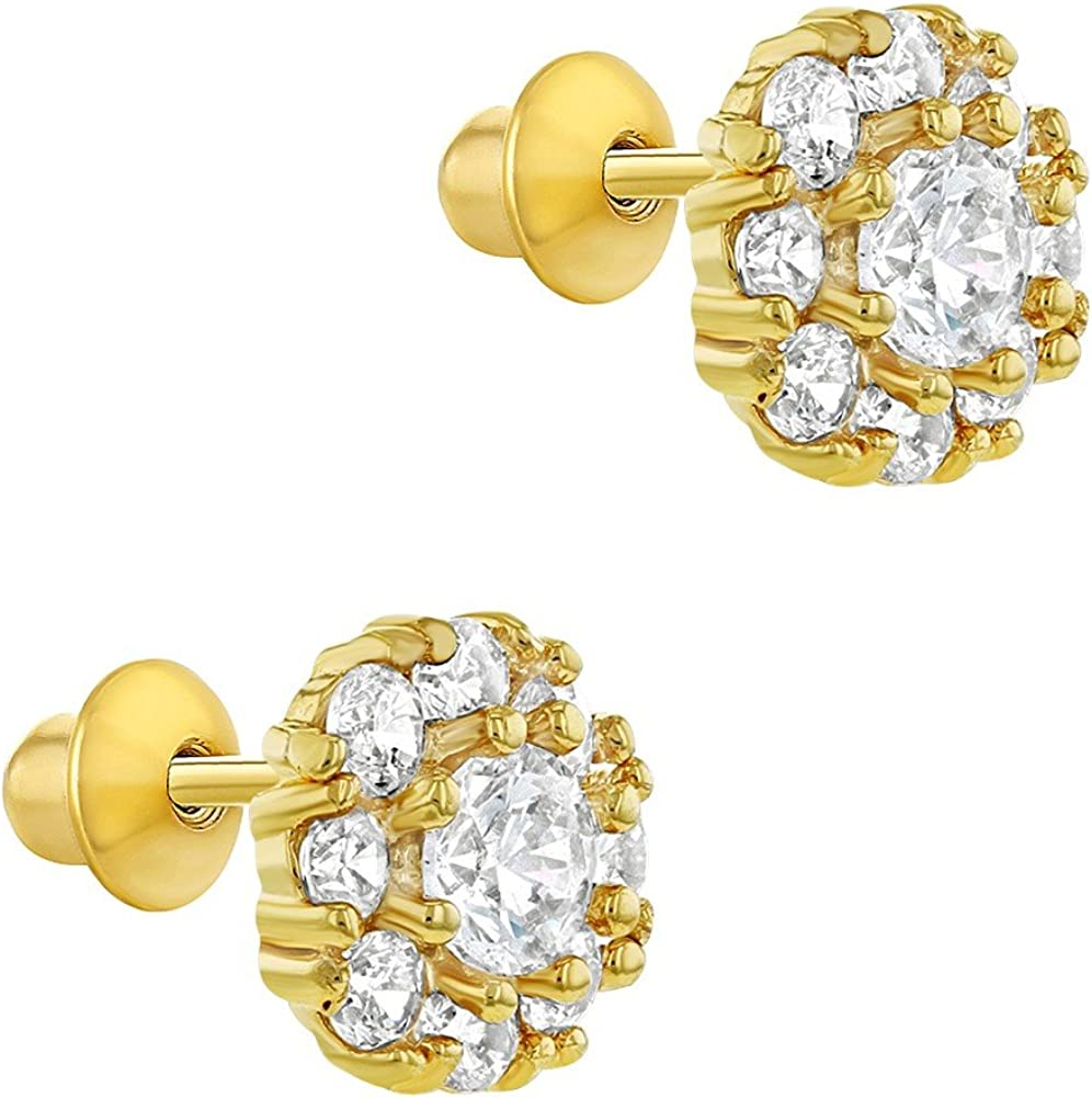 Plaqu/é or 18k Tiges poussettes s/écurit/é /à vis Fleur Boucles doreilles 6mm In Season Jewelry Enfants