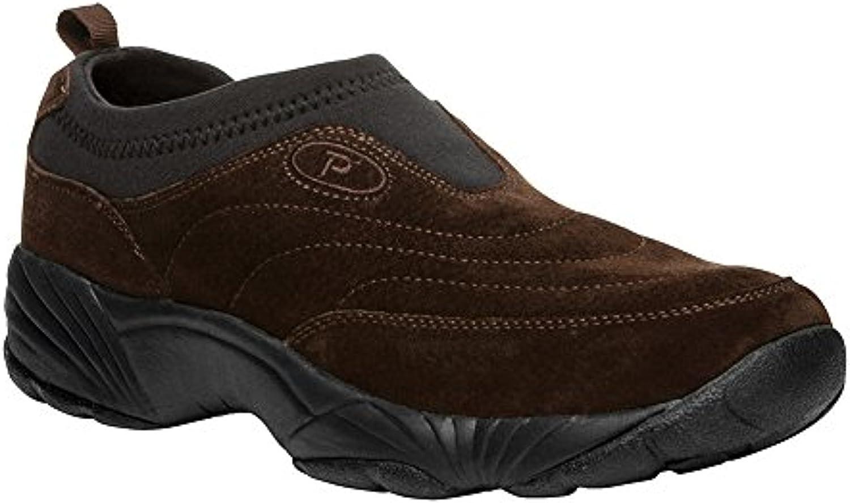 Propet Men's Wash & Wear Slip-On II Suede Shoe Brownie/Black 14 M (D) & Cleaner