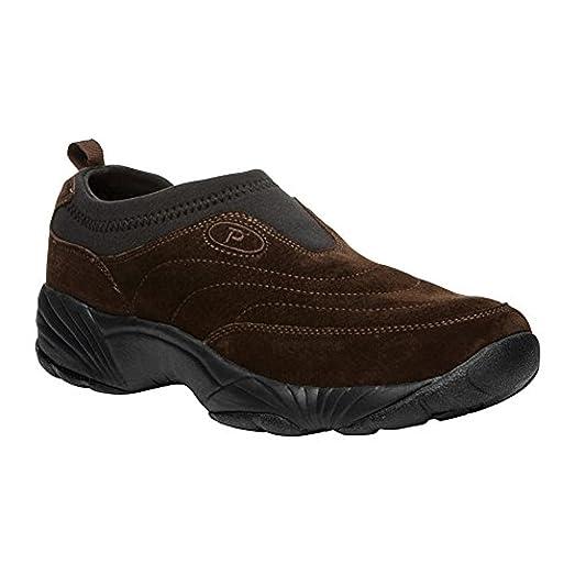 Propet Men's Wash & Wear Slip-On II Suede Shoe Brownie/Black 12 X (3E) & Cleaner