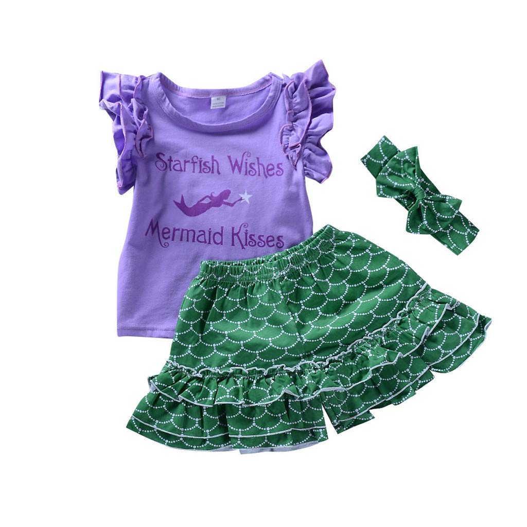 Alonea Casual Cotton Newborn Infant Baby Girls Mermaid Print T-Shirt Lace Shorts Outfits Clothes 3pcs