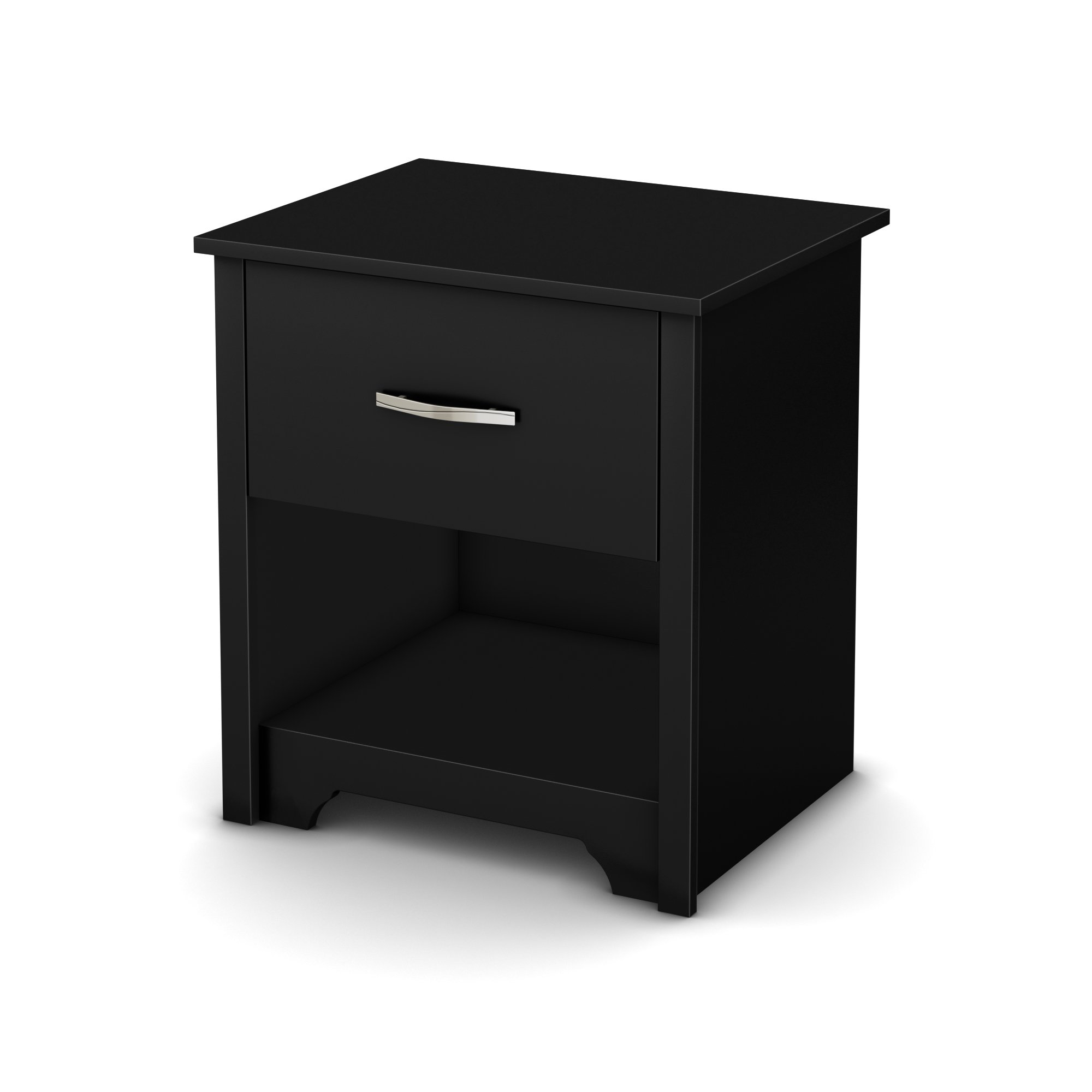 South Shore Fusion Nightstand, Pure Black with Grooved Metal Handles by South Shore (Image #2)