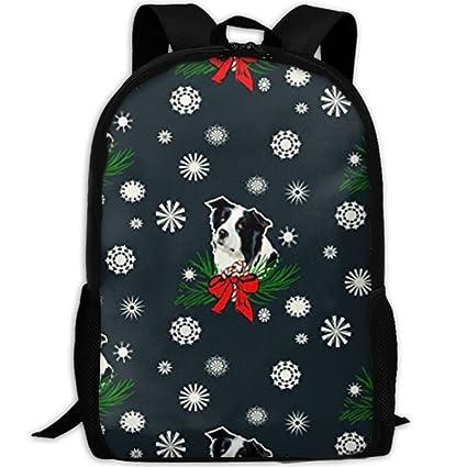 Amazon.com  Wialis8-id Border Collie ChristmasCollege Bookbag ... 227f7fb44492d