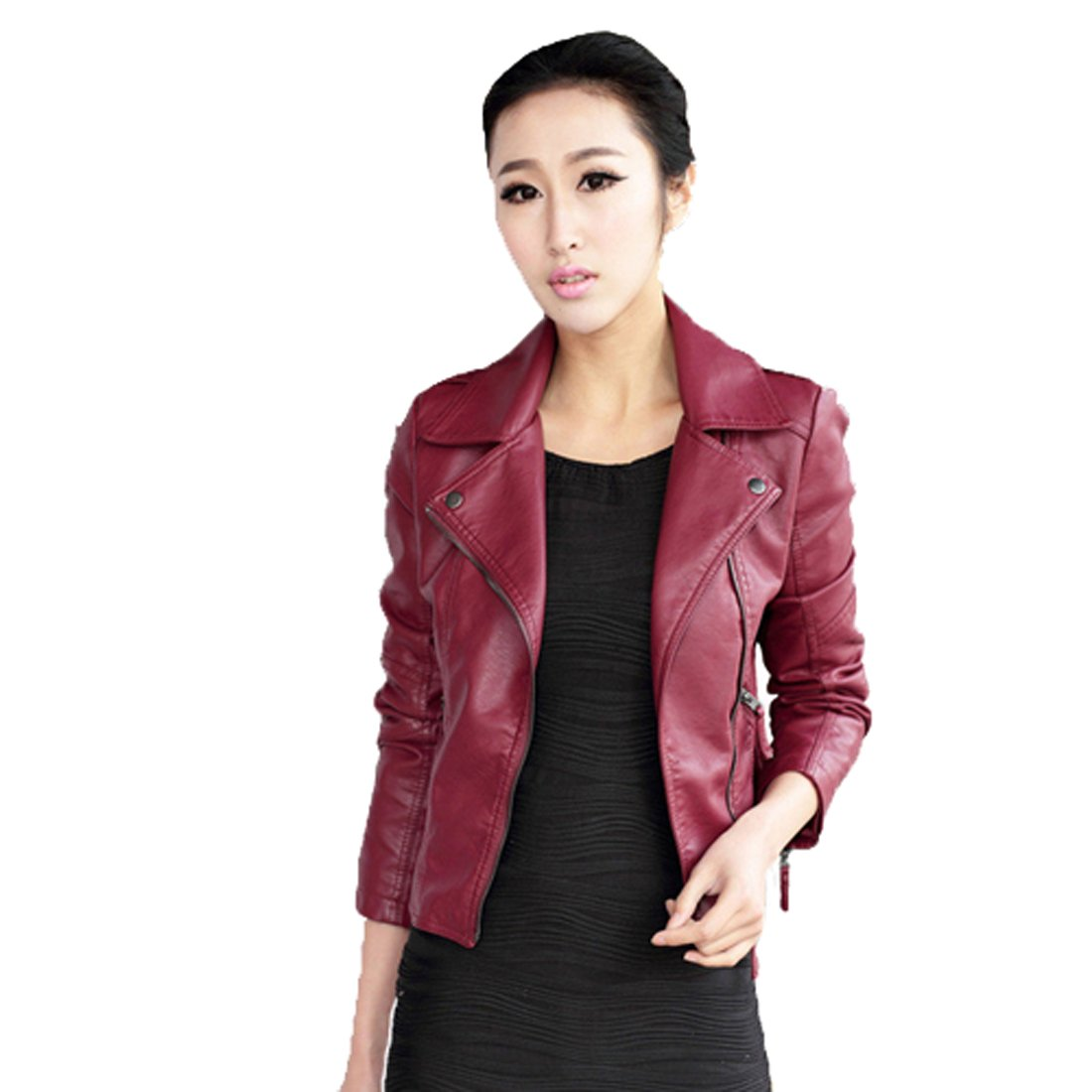 Women's Punk Rock Coat Slim Fit Motorcycle Biker PU Leather Jacket