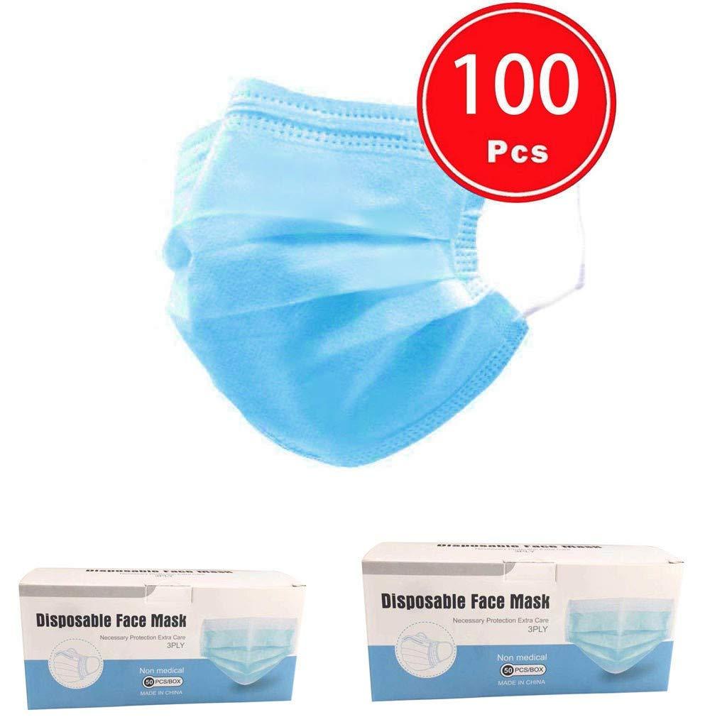 100 Piezas Adulto Protección, 𝐌𝐚𝐬𝐜𝐚𝐫𝐢𝐥𝐥𝐚𝐬, 3 Capas Transpirables con Elástico para Los Seguro Suave Transpirable Protección personal diaria