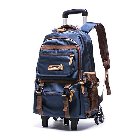 Mochila enrollable con ruedas para el colegio, bolsa de viaje, equipaje con 6 ruedas