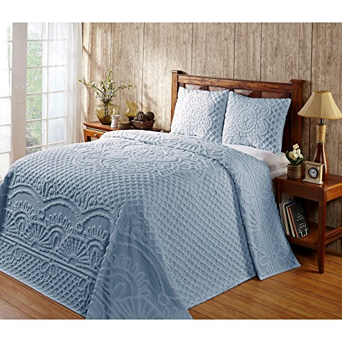 3 Piece 102 x 110 Pale Blue Oversized Chenille Bedspread Queen to the Floor Set, Extra Long Bedding Chenile Xtra Wide, Hangs Down Side Bed Frame, Drops Drapes French Country Raised Pattern, Cotton by DH