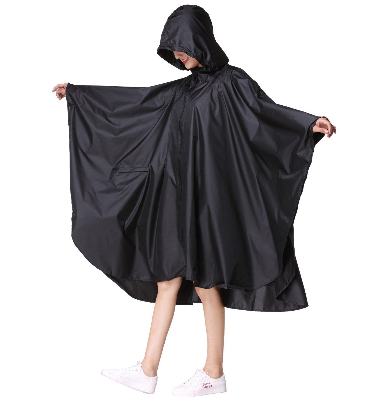 Women's Stylish Polyester Waterproof Rain Poncho Free Size with Hood Zipper Colorful Rain Coat (Black)
