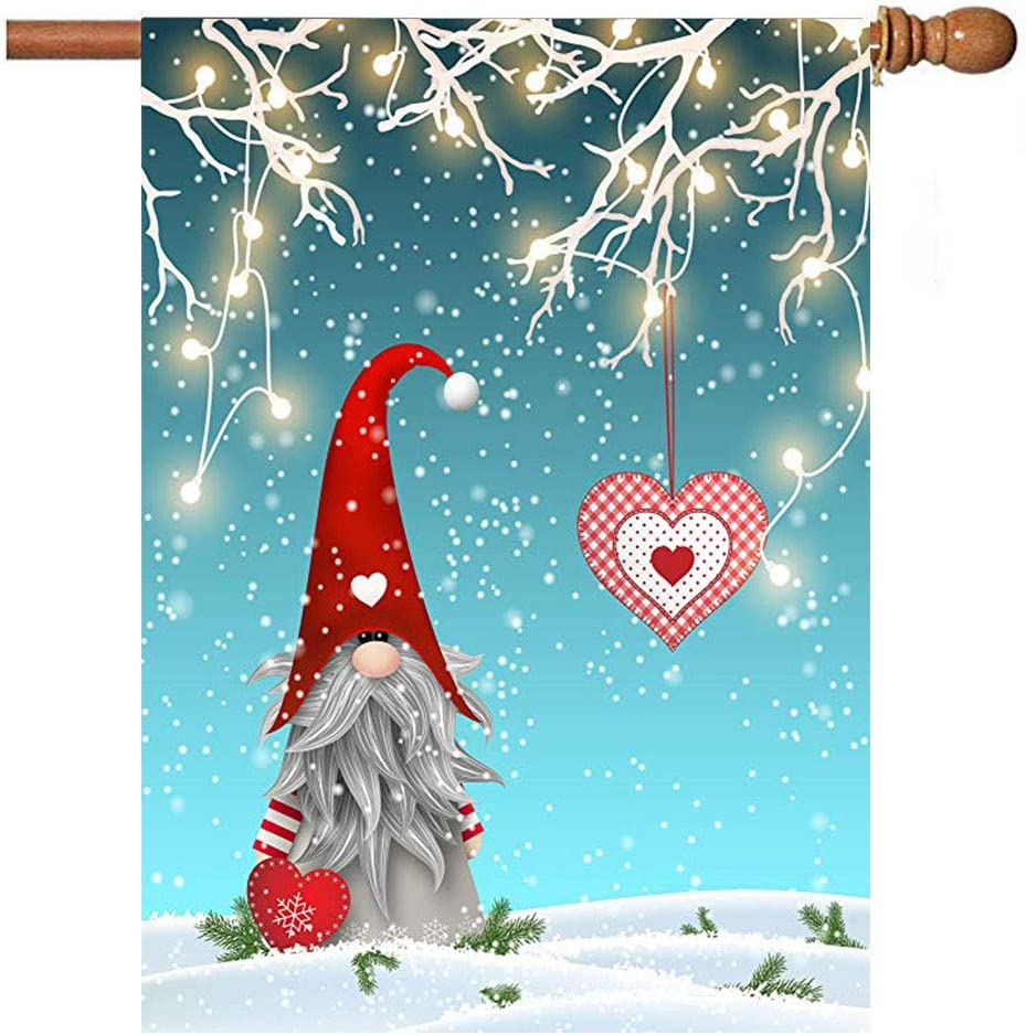 Christmas Gnome Tomte Standing On Snow Garden Flag House Banner 28 x 40 inch, Winter Heart Large Decorative Double Sided Welcome Yard Flags for Holiday Wedding Party Home Outdoor Outside Decor