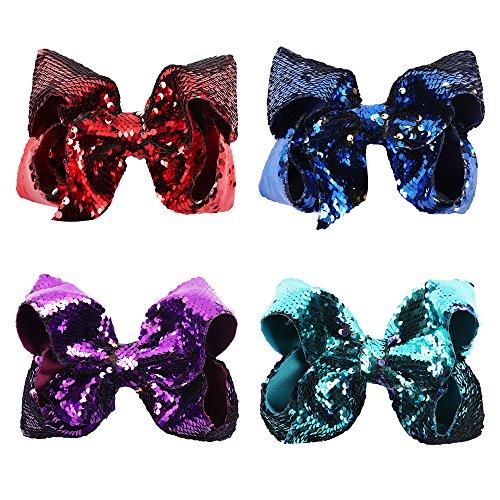 NCMAMA Sequin Ribbon Bows Set: Premium 4-Pack Cute Hair Bows Set For Women & Teens & Kids| Top Quality Handmade 7