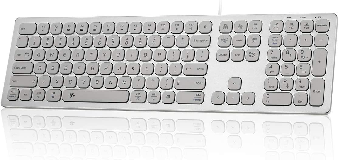 BFRIENDit Aluminum Slim Wired Keyboard, US Layout Wired Computer Keyboard for Apple iMac, MacBook, Mac and PC, Windows 10/8 / 7, USB Keyboard Numeric Keypad Chocolate Keys - Silver