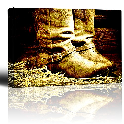 Boots on straw in barn Country and western art