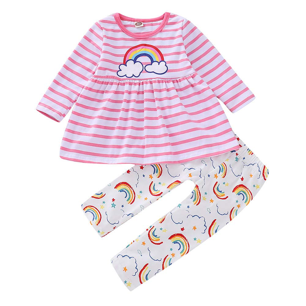 Voberry Xmas Kids Clothing Sets Infant Baby Boy Girl Striped Rainbow Shirt Tops Dresses+Pants Leggings Outfits Set