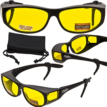 15b2db751c Escort Advanced System Safety Glasses Fits Over Most Prescription Eyewear -  FREE Rubber EAR LOCKS and Microfiber Pouch! -GLOSS Black Frame - -  Amazon.com