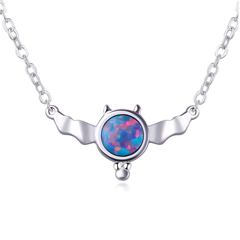 1364c7fe5c5fa KELITCH Top Bat Synthetic Opal Pendant Necklace Charming Birthstone Choker  Necklace