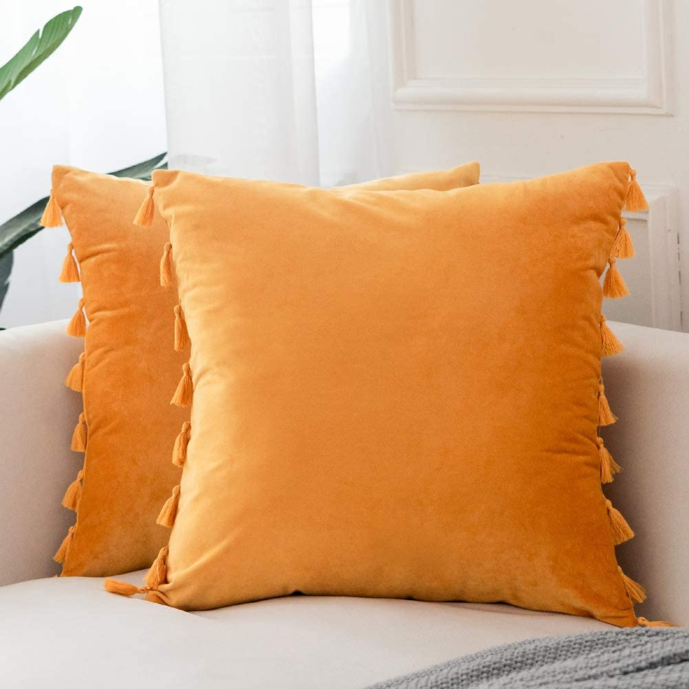 Andaot Pack of 2 Decorative Throw Pillow Covers, Two-Sided Small Tassels Design, Pillow Cases Throw with Tassels for Couch Bed Sofa Soft Velvet Cushion Cover 18 x 18 Inch Mustard Yellow