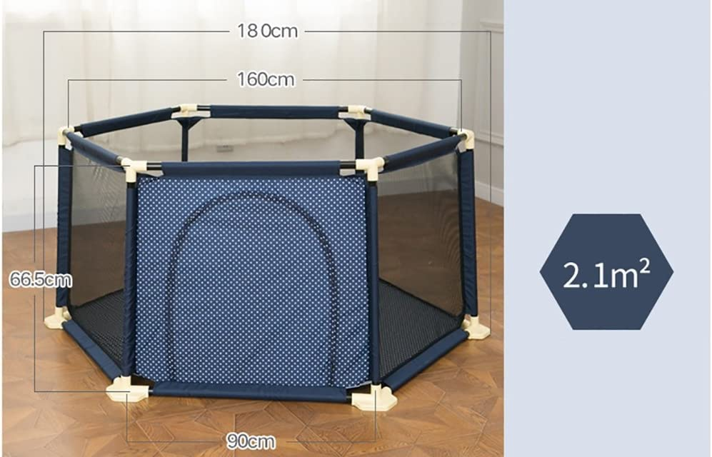 Color : Brown 6-Panel Childrens Play Fence Extra Tall 66.5cm Baby Playpen with Mattress /& Mosquito Net