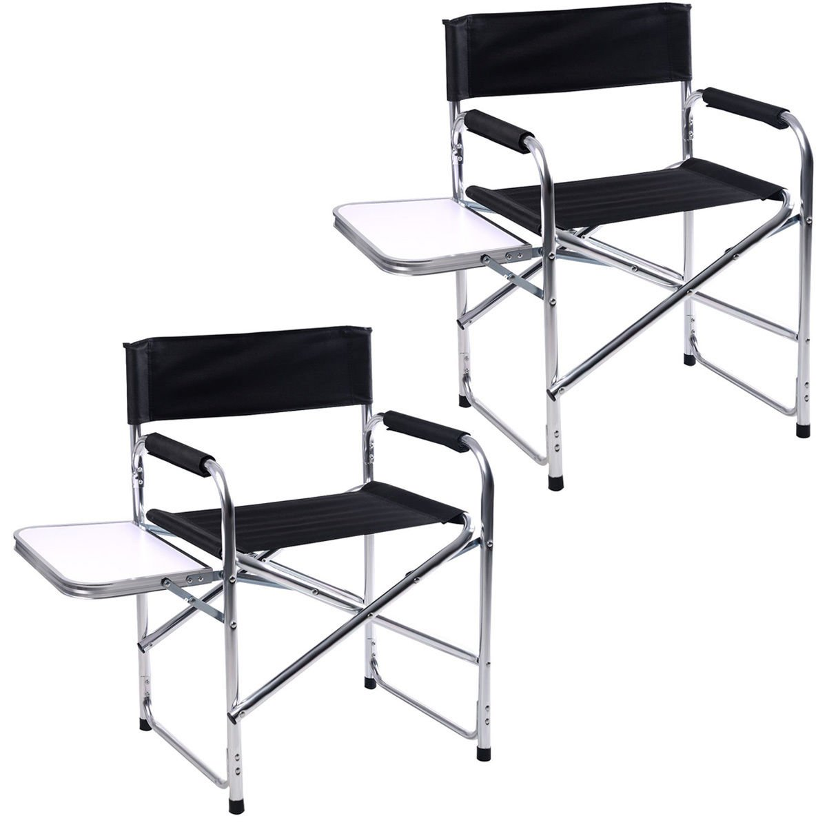 New 2PC Aluminum Folding Director's Chair with Side Table Camping Traveling
