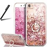 iPhone 7 Stand Case,iPhone 7 Glitter Case,SKYMARS 3D Flowing Liquid Floating Hard Back TPU Frame Case with 360 Degree Rotating Ring Grip Kickstand Holder for iPhone 7 4.7 inch Rotating Red Diamonds