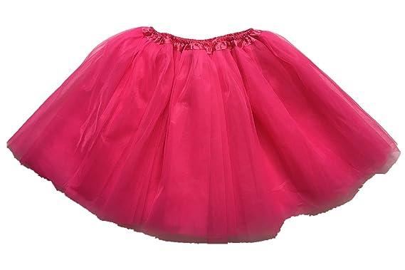 Cutegirl Cute Girl 3 Capas tutú Falda de la niña Rosa Hot Pink S ...