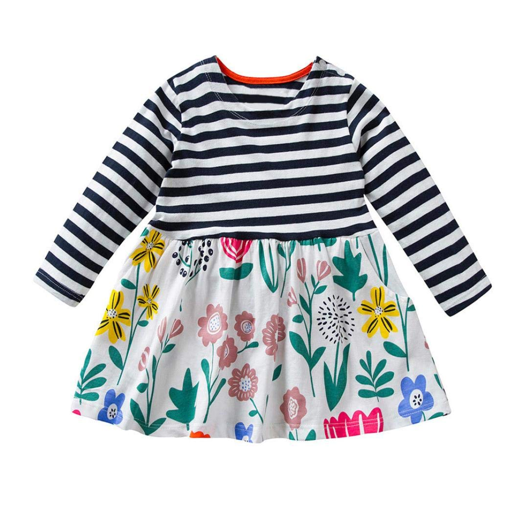 Suma-ma Multicolor Girls Children -Long Sleeved Stripe Floral Print Dress -Lovely and Beutiful