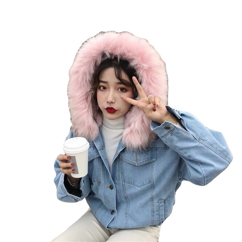 Women Warm Denim Coat, NDGDA Ladies Short Coat Faux Fur Collar Jacket Slim Winter Hooded Outwear Parka Overcoat
