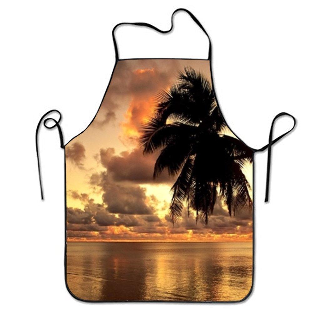 Kerr Juliet Earth湖オレンジシルエットSky Sunsetツリースイートハートシェフキッチンエプロンシェフステッチエッジ oneSize  Cloud Hawaii Ocean Palm Tree Sunset Tree Trop22 B07DGT7W4W