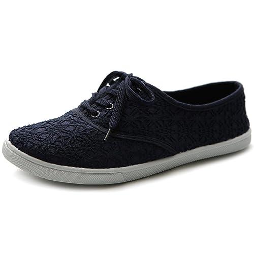07a510e679c Ollio Women s Ballet Shoe Lace Up Sneaker Canvas Flat ML027(6 B(M)