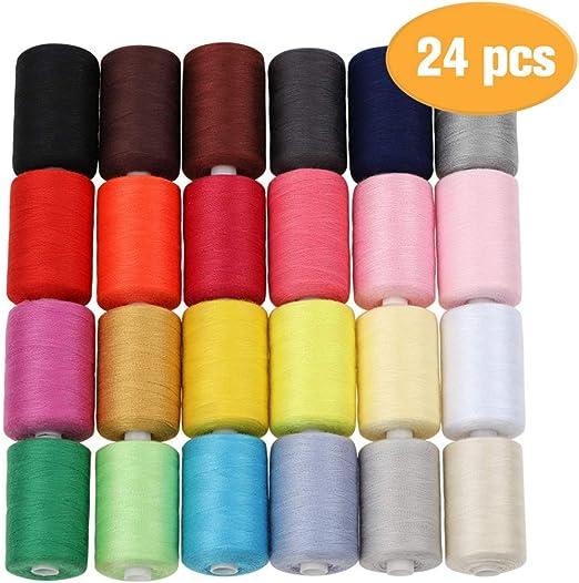 HAITRAL Hilo de coser – 24 hilos de algodón de colores, 1000 ...