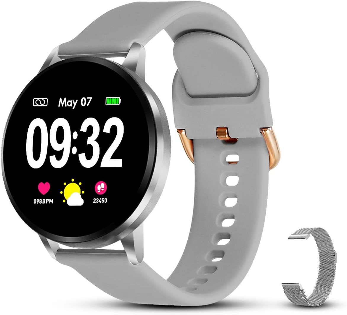 GOKOO Pulsera de Actividad Smartwatch Reloj Inteligente con podómetro, Monitor de Frecuencia Cardíaca Calorías Cronómetro de Monitoreo del Sueño de Android (Gris) …