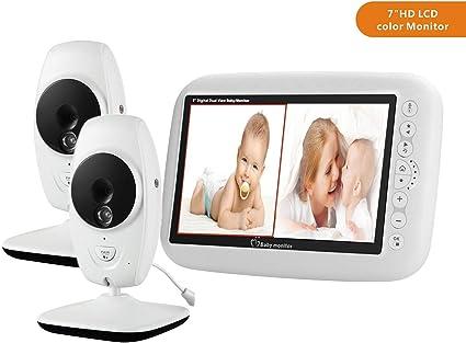 MBEN Video Babyphone, kabellose Kamera, 7,0 Zoll LCD Farbdisplay, Nachtsicht und Temperatursensor, Gegensprechanlage (2 Kameras)