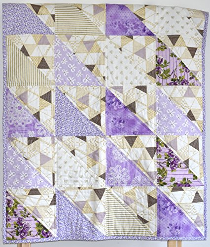 Puprle Shabby Chic Quilt - baby girl, lavender, minky , gold and purple, flowers, baby quilt, nursery by M&G Baby Glam