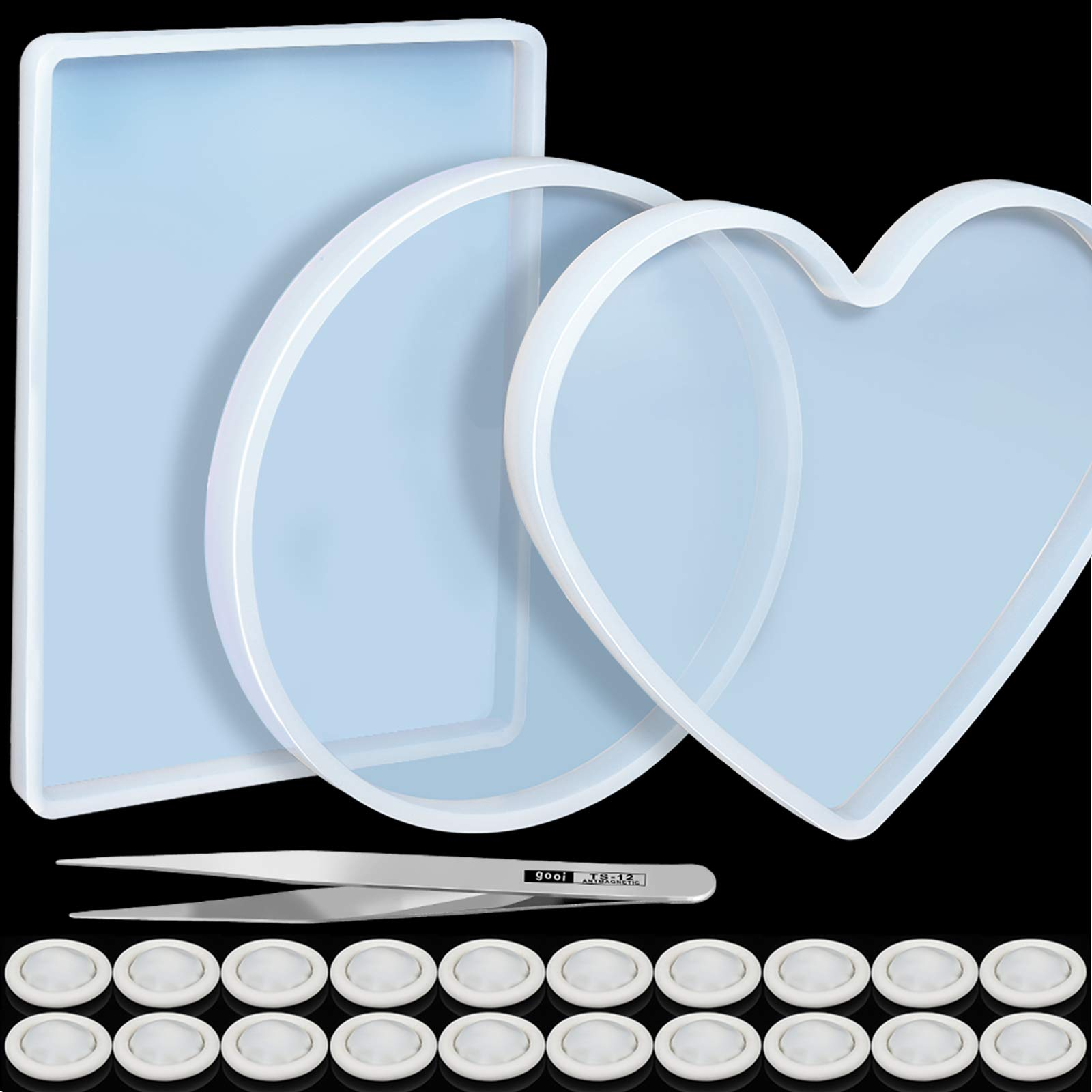 3 Pcs Large Resin Mold,LEOBRO Flexible Silicone Molds, Include Round, Rectangle, Heart Shaped Coaster Mold, Decorative Mold, Come With 20 Pcs Finger Cots, 1Pcs Tweezers