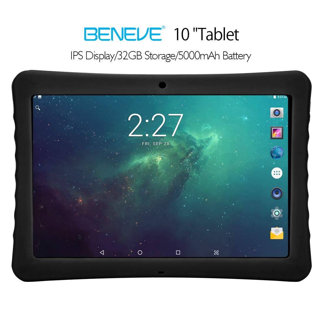 BENEVE 10 Tablet, 10.1'' 1920&1200 IPS Display, 2+32 GB, WiFi and Andriod System, Black - for Kids and Adult