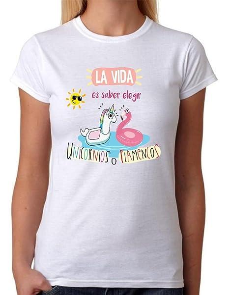 MardeTé Camiseta La Vida es Saber Elegir Entre Unicornios o Flamencos. Camiseta de Chica Divertida